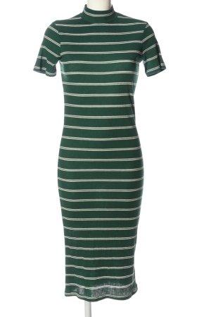 MNG SUIT Kurzarmkleid grün-weiß Streifenmuster Casual-Look
