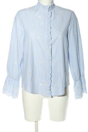 MNG SUIT Langarm-Bluse blau-weiß Streifenmuster Business-Look