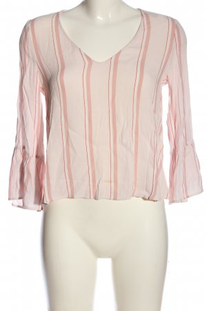 MNG SUIT Langarm-Bluse wollweiß-pink Streifenmuster Casual-Look