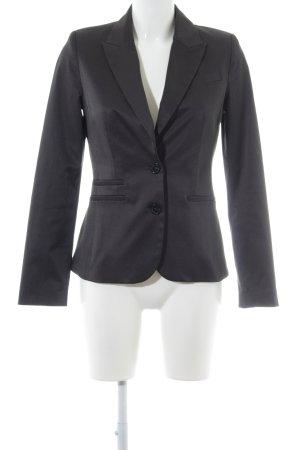MNG SUIT Blazer largo negro-blanco estampado a rayas elegante