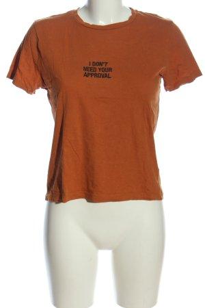 MNG SUIT Print-Shirt braun-schwarz Schriftzug gedruckt Casual-Look