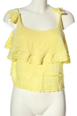 MNG SUIT Top a balze giallo pallido stile casual