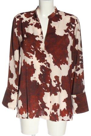 MNG SUIT Schlupf-Bluse rot-weiß abstraktes Muster klassischer Stil
