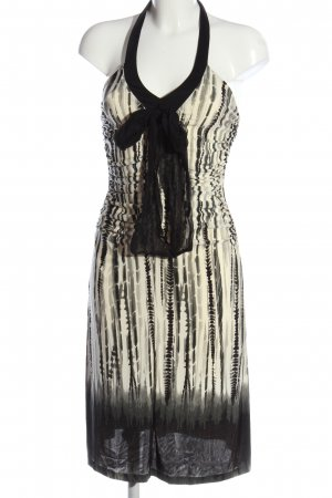 MNG SUIT schulterfreies Kleid creme-schwarz Allover-Druck Party-Look