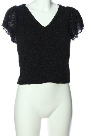 MNG SUIT T-shirts en mailles tricotées noir-doré moucheté élégant