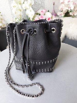 MNG Tasche Beuteltasche NEU schwarz silber