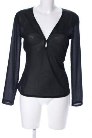 MNG Transparenz-Bluse schwarz Elegant