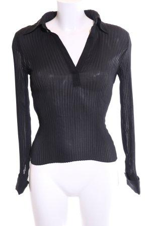 MNG Transparenz-Bluse schwarz Streifenmuster extravaganter Stil