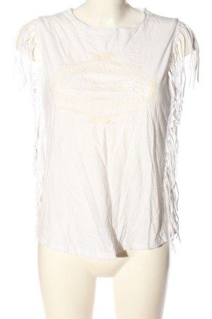 MNG Maglia scollo a barca bianco sporco-crema Stampa a tema stile casual