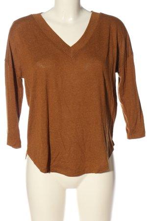 MNG V-Ausschnitt-Pullover hellorange meliert Casual-Look