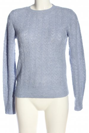 MNG Wollpullover blau Zopfmuster Casual-Look