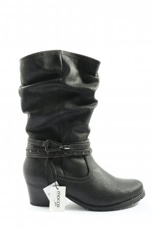 mocca Wide Calf Boots black casual look