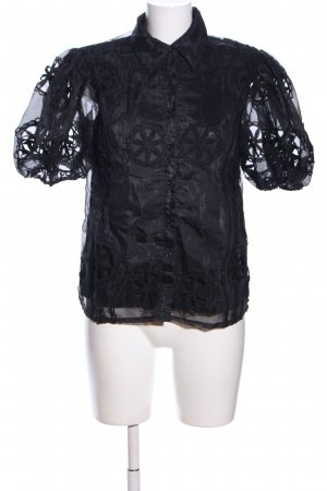 Mochy Transparenz-Bluse schwarz Blumenmuster Elegant