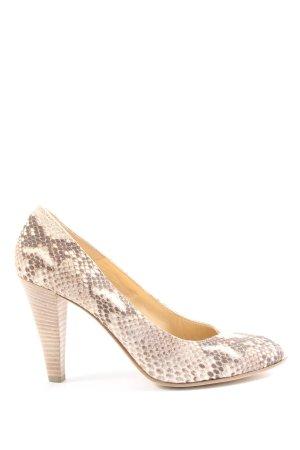 Moda Di Fausto High Heels creme-braun Allover-Druck extravaganter Stil
