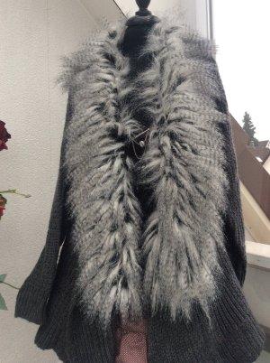 Italia Moda Abrigo de punto gris oscuro-gris claro