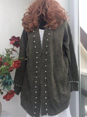 aus Italien Manteau en tricot blanc-gris foncé