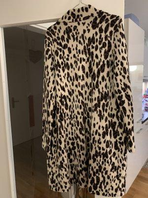 Manteau en tricot crème-brun foncé