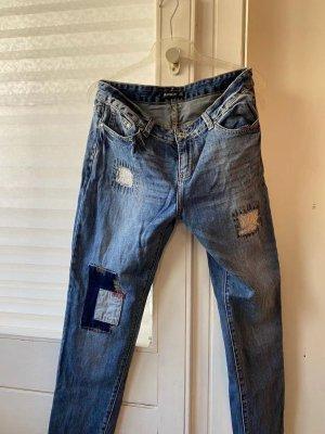 Boyfriend Jeans steel blue-dark blue cotton