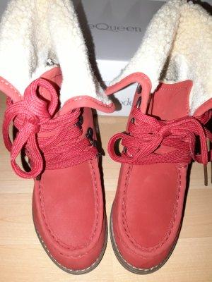 Mode Queen Schnürstiefeletten mit Absatz rot Gr.36