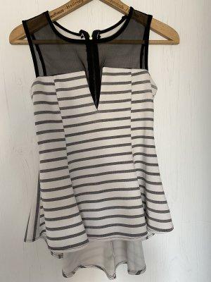 Camisa de cuello de tortuga negro-blanco