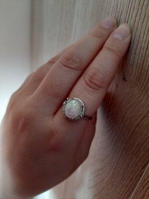 Srebrny pierścionek srebrny-biały