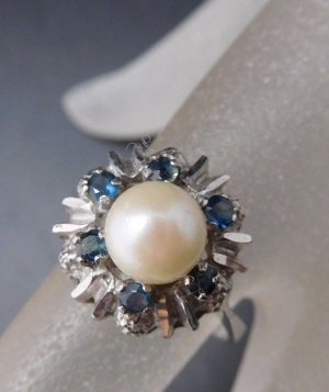 Modern Art Ring 835 Silber Saphir  floral Blume Perle Silberring Perlenring