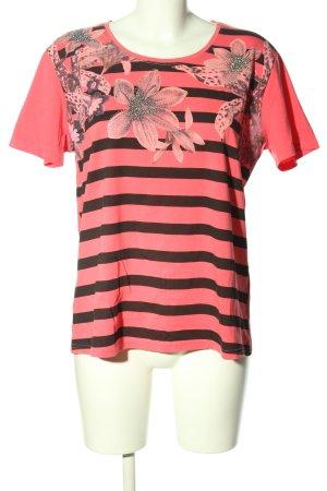 modern times T-Shirt pink-schwarz Blumenmuster Casual-Look