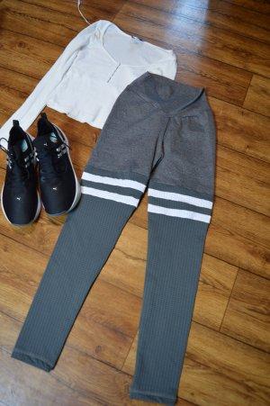 Moderne Butt-Scrunch High Waist Leggin 34/36 von CLS grau weiss
