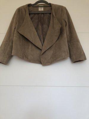 Bershka Kurtka z imitacji skóry szaro-brązowy-jasnobrązowy Poliester