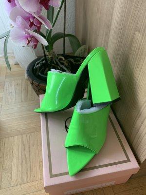 Zomerschoenen met hak neon groen-groen