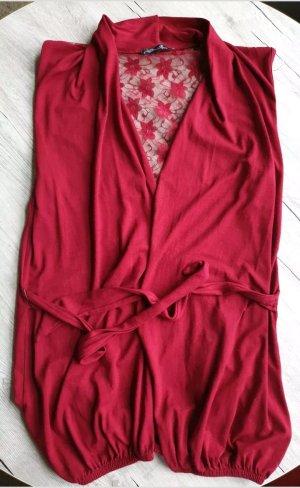 Gilet long tricoté rouge