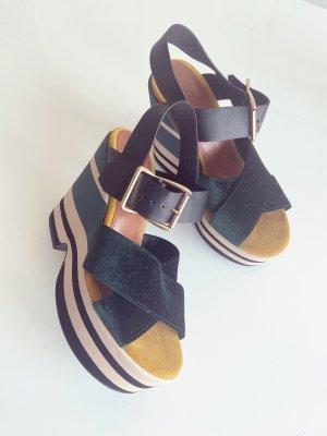 Platform Sandals dark green-yellow
