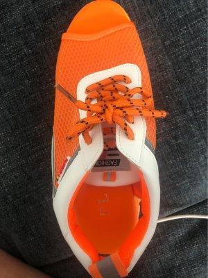 100% Fashion Entre-doig à talon haut blanc-orange