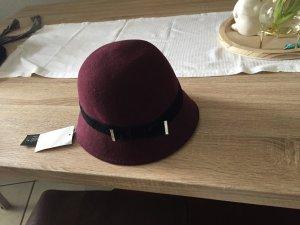 C&A Sombrero de ala ancha rojo zarzamora-burdeos
