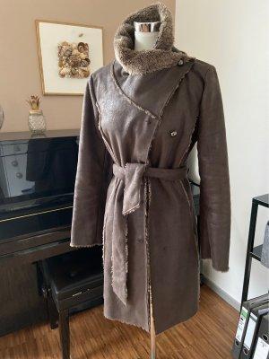 Promod Abrigo de cuero marrón-negro