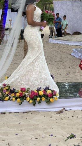 Modernes handperlenbesetztes Meerjungfrau-Kleid