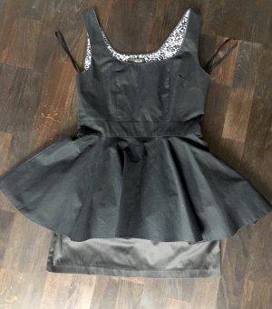 Robe péplum noir coton