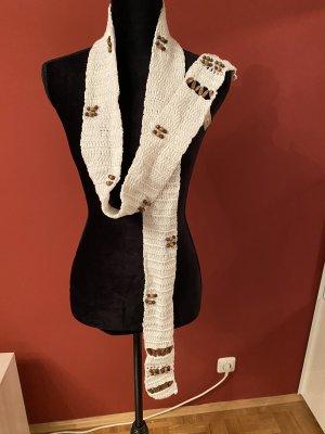 romano Crochet Scarf white-brown