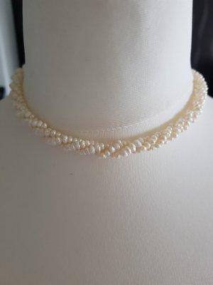 Modeschmuck Perlenkette Champagnefarbend