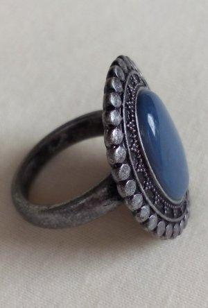 Modeschmuck Ring blauer Stein