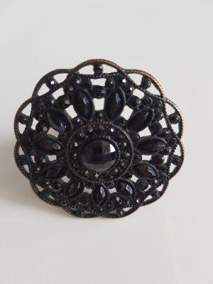 Bijou Brigitte Bague incrustée de pierres bronze-noir