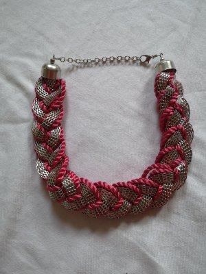 Modeschmuck Stoff Halskette rot mit silber Elemente