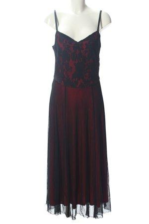 Modeszene Abendkleid schwarz-rot Allover-Druck Elegant