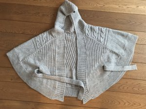 Mango Knitted Wrap Cardigan light grey-natural white alpaca wool