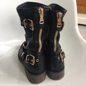 Graceland Short Boots black-gold-colored leather