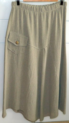 Fashion by Peter Luft Linen Skirt grey brown-light brown polyester