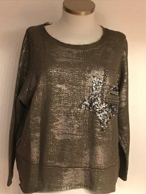 0039 Italy Bluza dresowa srebrny-zielono-szary