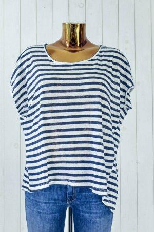 MODSTRÖM Damen T-Shirt Leinen Blau Weiß Gestreift Kurzarm Lässig Gr.S