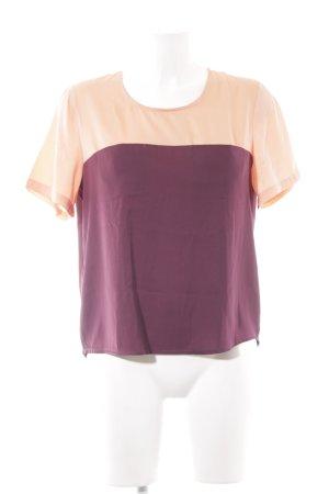 Modström Kurzarm-Bluse purpur-apricot Colourblocking schlichter Stil