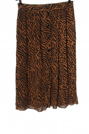 Modström Spódnica midi brązowy-czarny Zwierzęcy wzór W stylu casual
